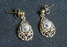 Unworn 14K Gold 1996 Diamonique Old European Premier Cut Filigree Earrings