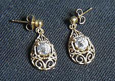 Unworn 14K Gold 1996 Diamonique Old European Premier Cut Filigree Earrings