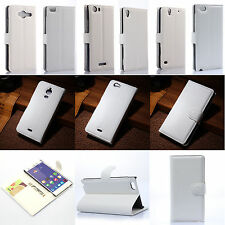 New White Flip PU Leather Card Slot Case Magnetic Close Stand Cover Book Wallet