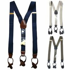 7000 - Men's Adjustable Stretchy Y-Back Suspender with Leather Button Tabs