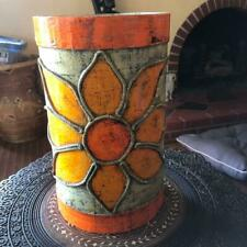 Vintage Paper Mache Groovy Waste Paper Basket Orange Flower Rope Mexico 13 7/8