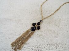 Goldtone Black Cabochon Fringe Pendant Necklace (C77)