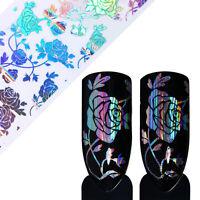Nagelfolie Nail Art Holo Starry Rose Blume Nagelsticker Nail Foils Maniküre DIY