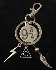 Harry potter Charm Keyring Deathly Hallows Clip Bag Key Ring Chain Snitch Bolt