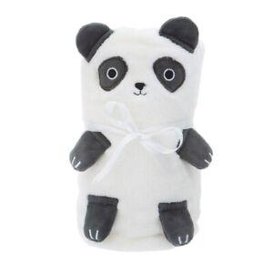 Sass & Belle Panda Soft Fleece Baby Blanket White Black Nursery Child Kids Room