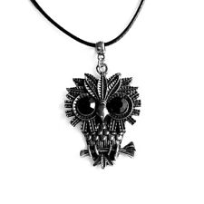 Owl Charm Pendant Black Rhinestone Necklace with Black Cord
