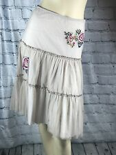 Forever 21 Womens Skirt Cotton Mesh Sheer Embroidered Floral Cream Ivory XS