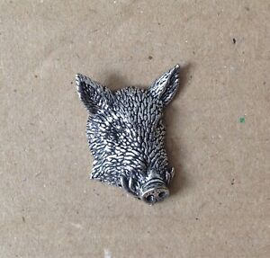 Wild Boar's Head Silver Pewter Pin Badge - Great Detail And Quality