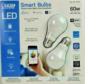 Feit Electric Smart Bulbs Wi-Fi LED Color Changing Dimmable 60W Bulbs 2 Pack