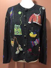 Northern Isles grey Sweater yarn Jacket socks scarf vest basket needle Size L