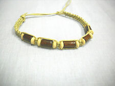 LIGHT TAN NATURAL MACRAME w BROWN & TAN WOODEN BEADS TIE ON BRACELET OR ANKLET