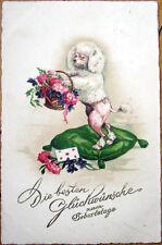1929 Color Litho, Art Deco Postcard: Poodle Dog w/Basket of Flowers & Pillow