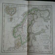 Carte géographique Norvège Suède et Danemark 1833
