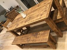 FARMHOUSE RUSTIC KITCHEN DINING TABLE & BENCHES - VARIOUS SIZES AVAILABLE