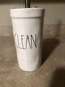 Rae Dunn Clean  Toilet Brush Holder Set New