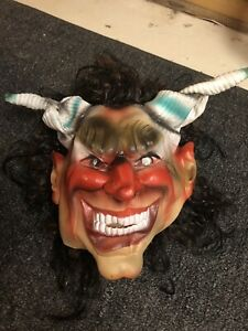 Vintage 1989 Cesar Halloween Mask Witch Goblin Devil Horns
