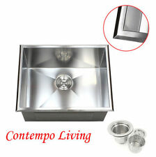 "23"" Topmount Drop In Stainless Steel l Kitchen / Utility / Laundry Sink 12"" Deep"