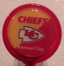 Nfl Kansas City Chiefs Badge Id Reel Holder Red Yellow Alligator Clp Handmad New