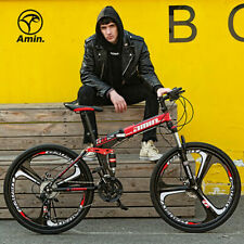 """26"""" Folding Mountain Bike 21 Speed Bicycle Full Suspension Cross Country MTB"""