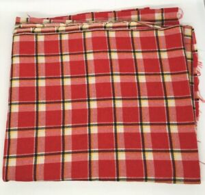 Vintage retro woven wool material red check 1950s 1960s