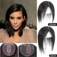 Silk Base Middle Part Silk Straight Human Hair Topper Hairpiece Cover Loss Hair