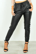 New Women Ladies Faux Leather Look Drawstring Jogger Trousers Leggings Cuffed UK