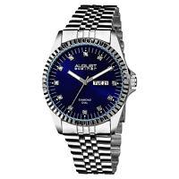 Men's August Steiner AS8047SSBU 12 Genuine Diamond Markers Steel Bracelet Watch