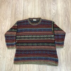 Womens Vintage Knit Jumper L Large Charlotte Halton Red Patterened B6045