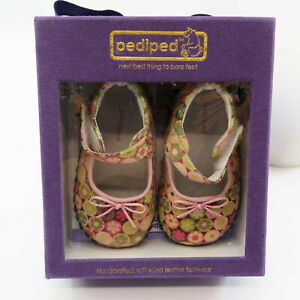 Pediped Floral Leather Dress Shoes Girls 6-12 Months Annie Potpourri Mary Jane