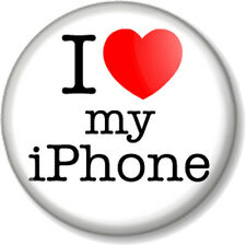 "I Love / Heart my iPhone 1"" 25mm Pin Button Badge Apple iMac iPod iTunes 6 5 4"