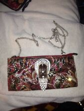 MONTANA WEST Clutch Convertible Baguette Paisley Wallet w/Rhinestone Accents