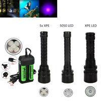 Outdoor UV 5 LED Diving Flashlight Scuba Ultraviolet Torch Underwater 100M Lamp