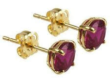 Stud Earrings Diamond Unique Garnet 1.00ct Solitaire 9ct Gold