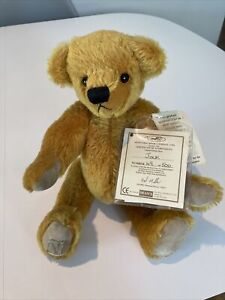 """Deans Gold Mohair 12"""" Tall Teddy Bear 🧸 """"Jock"""" No 49 Of 500 Limited Edition"""