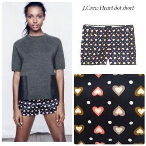 J. Crew Womens Heart Dot Navy Shorts Sz 4 B0252