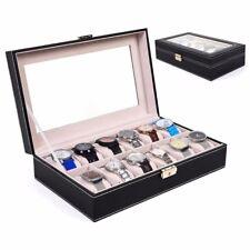 12 Slot Black Leather Watch Box Jewelry Storage Organizer w/ Glass Top Display