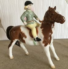 BESWICK HORSE GIRL ON PONY No 1499 SKEWBALD GLOSS FINISH GREEN JACKET PERFECT