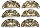 """6 Antique vtg. Style Victorian Brass Apothecary Bin Pulls Handles 3""""cntr  #A5"""
