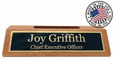 Personalized Business Desk Name Plate with Card Holder - Made in USA - Cherry