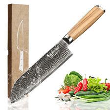 "7"" Japan VG10 73-layer Damascus Chef Santoku Knife Wood Handle Fish Sushi Knife"