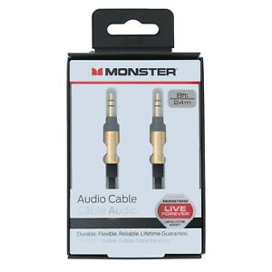 Monster® Premium Audio Aux Cable 3.5mm Male to Male Stereo Jack - Gold 8ft 2.4m
