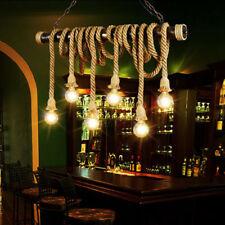 Farmhouse Pendant Lamp Industrial Edison Hemp Rope Ceiling Light Chandelier