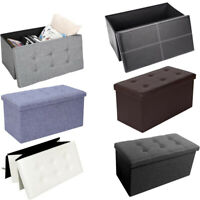 1/2 Seater Folding Ottoman Storage Bench Pouffe Seat Stools Box Footstool Chair