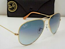Authentic Ray-Ban RB 3025 001/3F Gold Blue Gradient 58 mm Pilot Sunglasses $210