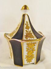 Beautiful Dresden Porcelain Heraldic Circus Tent Black & Gold Sugar Bowl