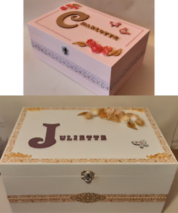 🌺 Wooden keepsake personalised box. Jewellery case. Hand painted decorated🌺