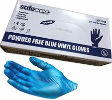 1000 x Large Blue Vinyl Safe Care Disposable Gloves Latex and Powder Free