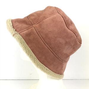 Talbots Faux Suede Fleece Bucket Hat Pink One Size Fall Winter Warm Hat