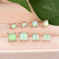 Elegant Princess Cut Green Fire Opal Stud Earrings Rose Gold Wedding Jewelry