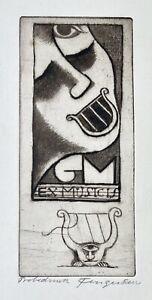 Michel Fingesten. Ex Musicis G M. Musik. Probedruck. Um 1930. Signiert.